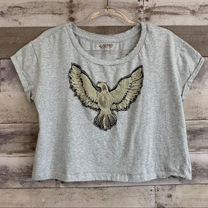 Shyanne Boho Embroidered Thunderbird Crop Tee Top